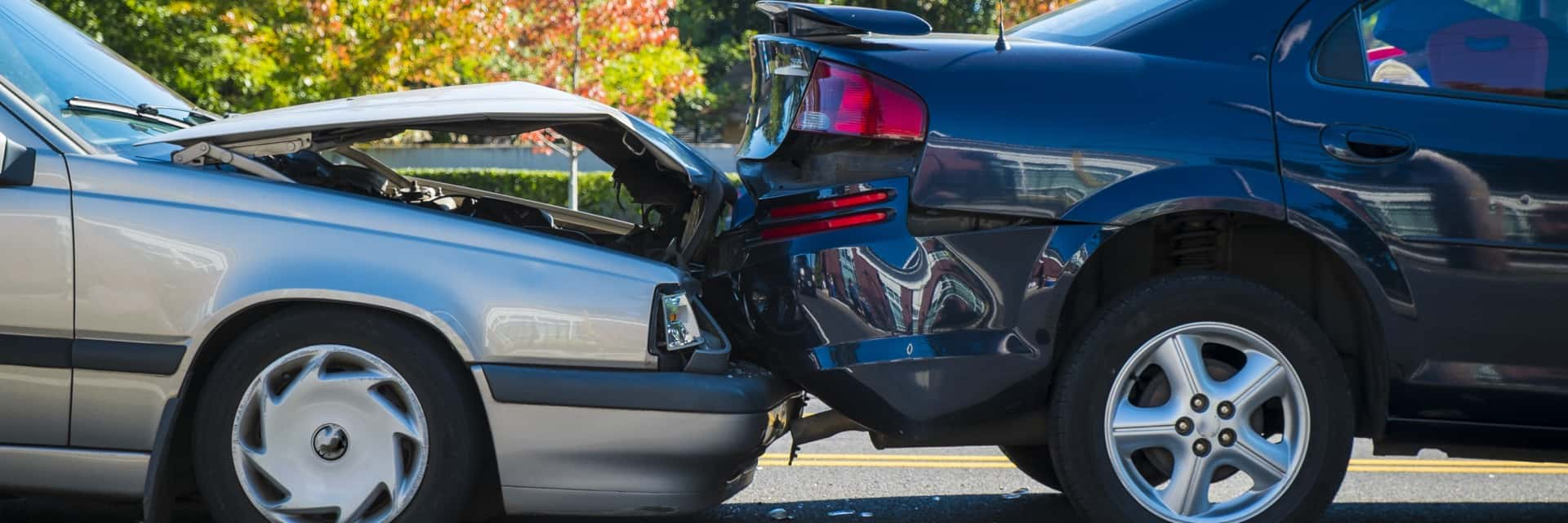 Rear end accident between two cars